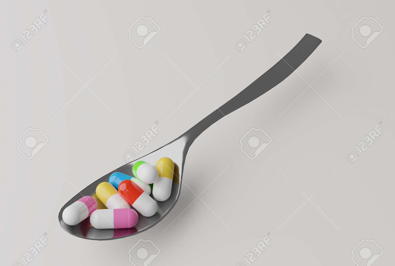 pills in a spoon, 3d illustration - 159103773