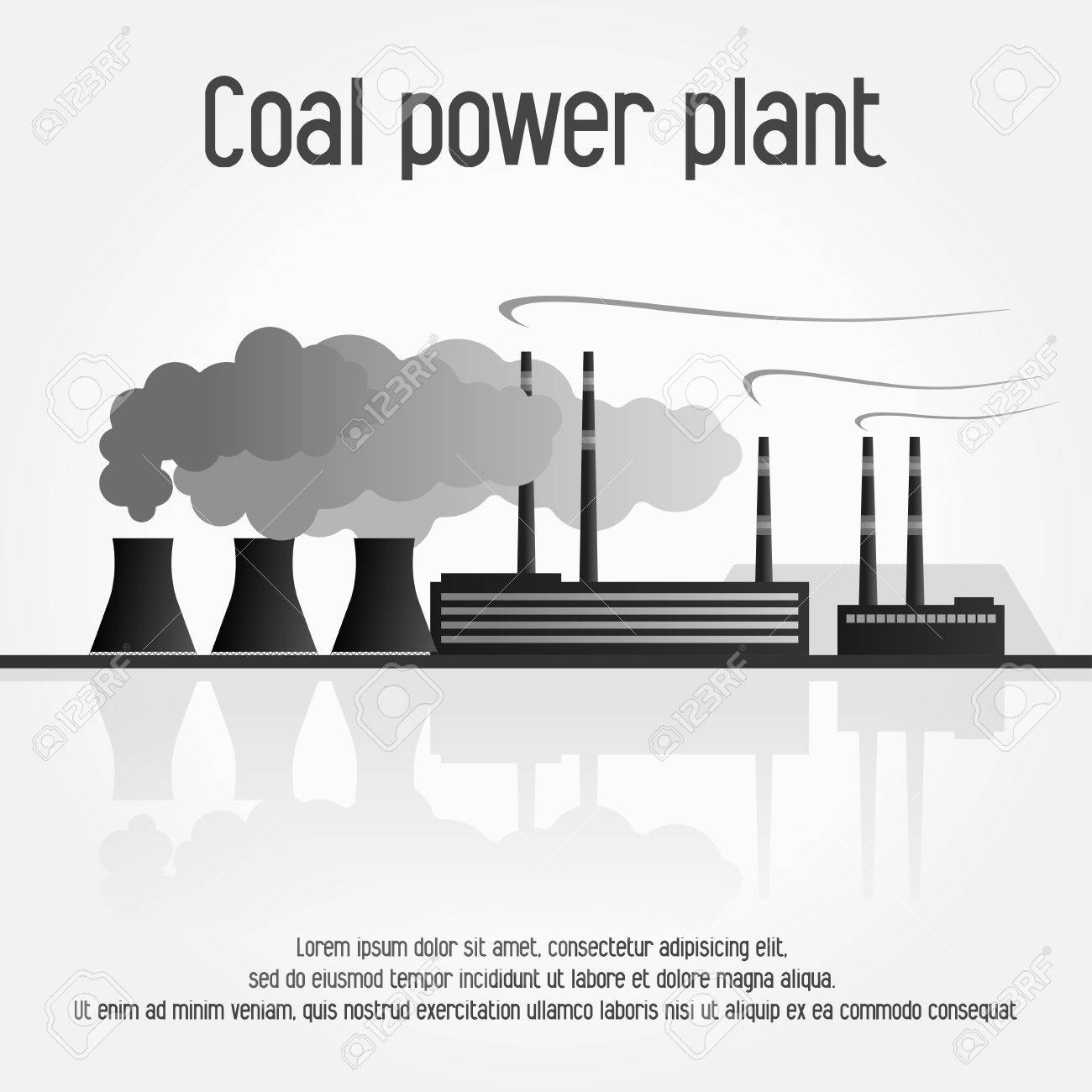 Coal Power Plant Silhouette Vector Illustration On White Backgound Royalty Free Cliparts Vectors And Stock Illustration Image 51687003