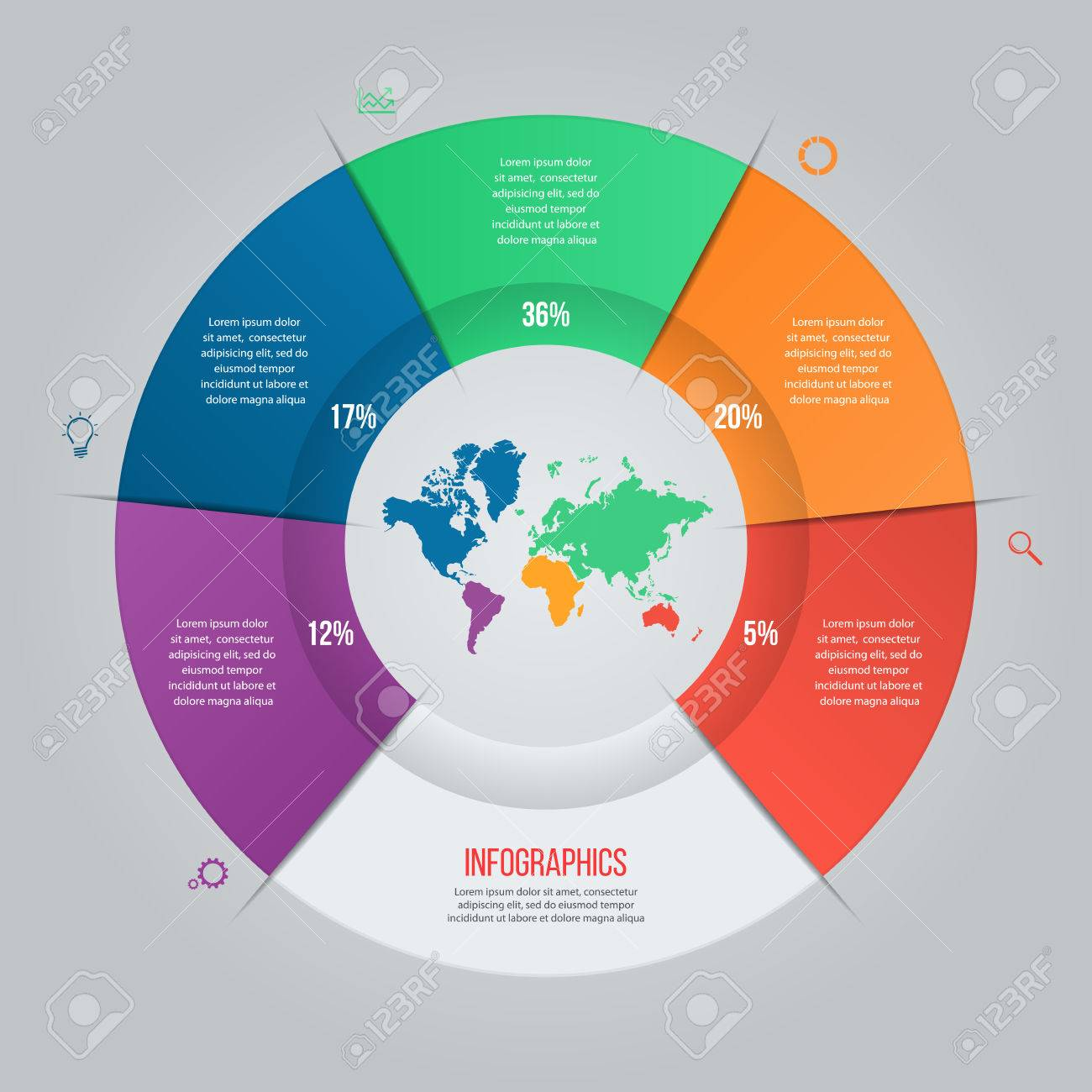 Plantilla De Gráfico Circular Del Vector Para Gráficos, Tablas ...