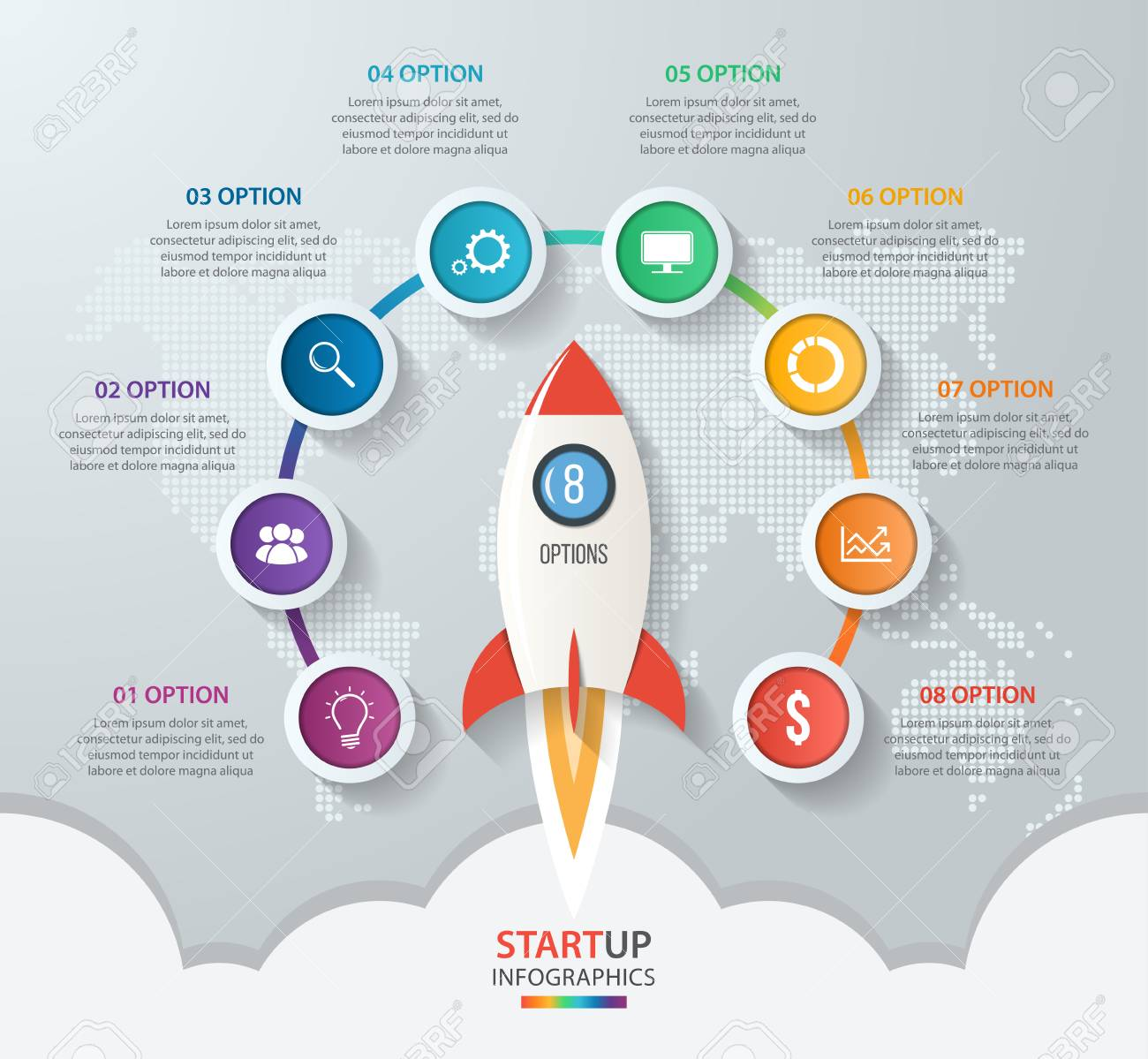 Startup vector circle infographics with rocket launch and styled startup vector circle infographics with rocket launch and styled world map 8 options parts gumiabroncs Gallery