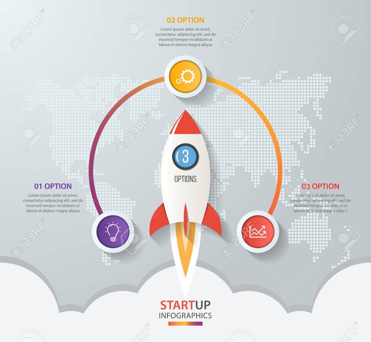 Startup vector circle infographics with rocket launch and styled startup vector circle infographics with rocket launch and styled world map 3 options parts gumiabroncs Image collections