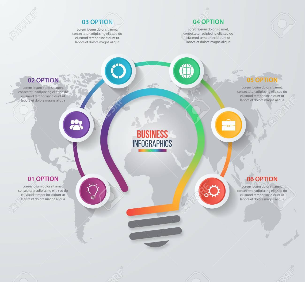 Vector Idea Bombilla Círculo Infográfico Plantilla Para Gráficos ...