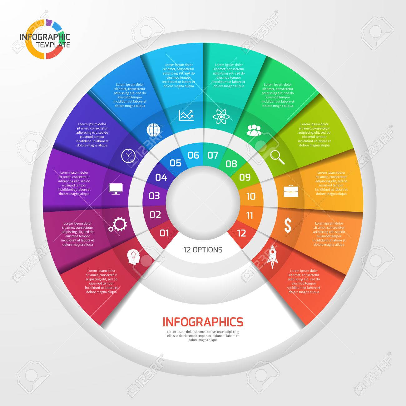 Vector Circle Infographic Template For Graphs Charts Diagrams Pie Chart Diagram Concept With 12