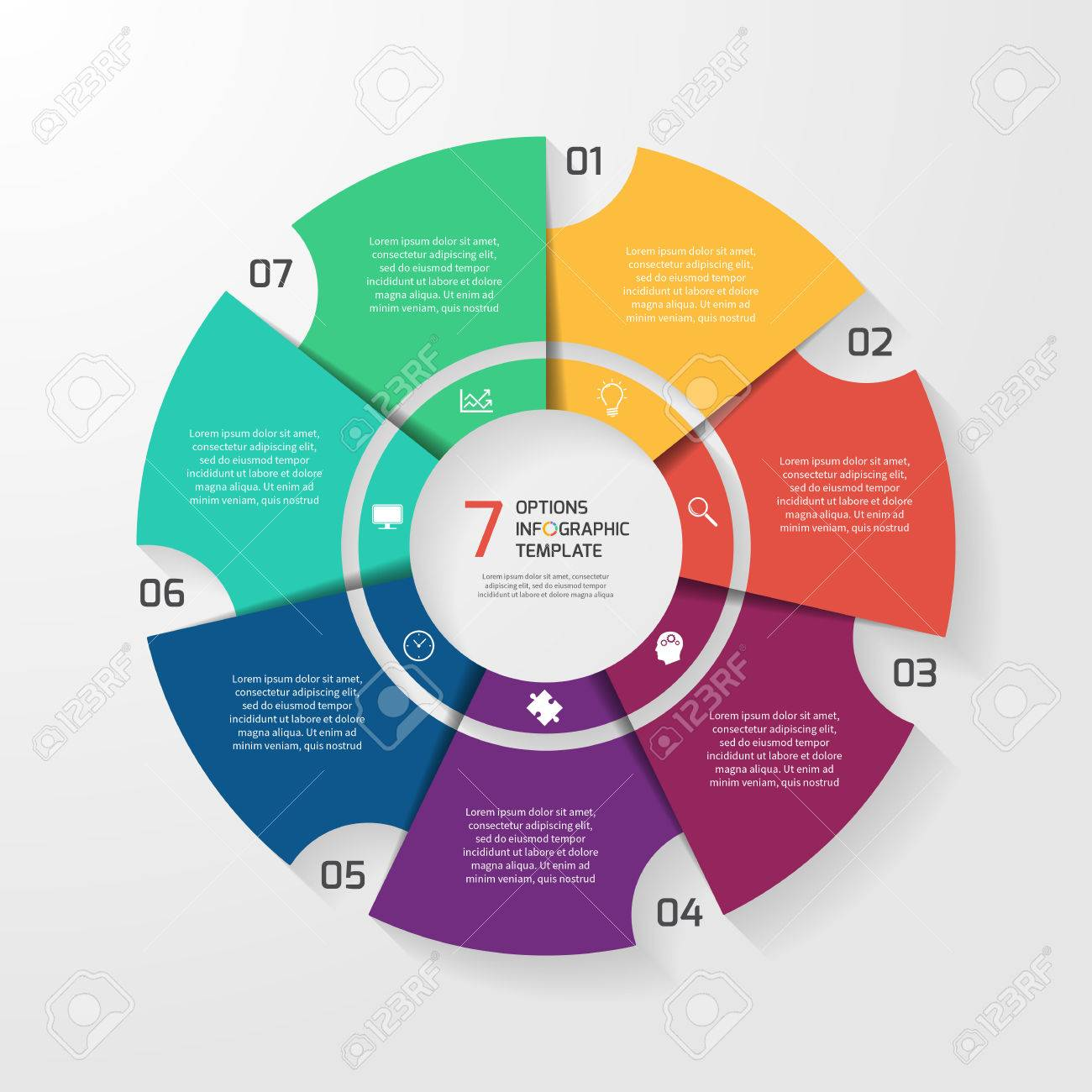 Vector Circle Infographic Template For Graphs Charts Diagrams