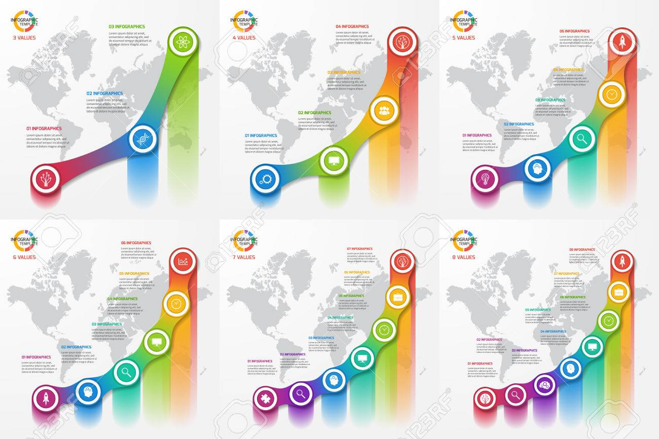 set of line graph infographic templates for charts and diagrams
