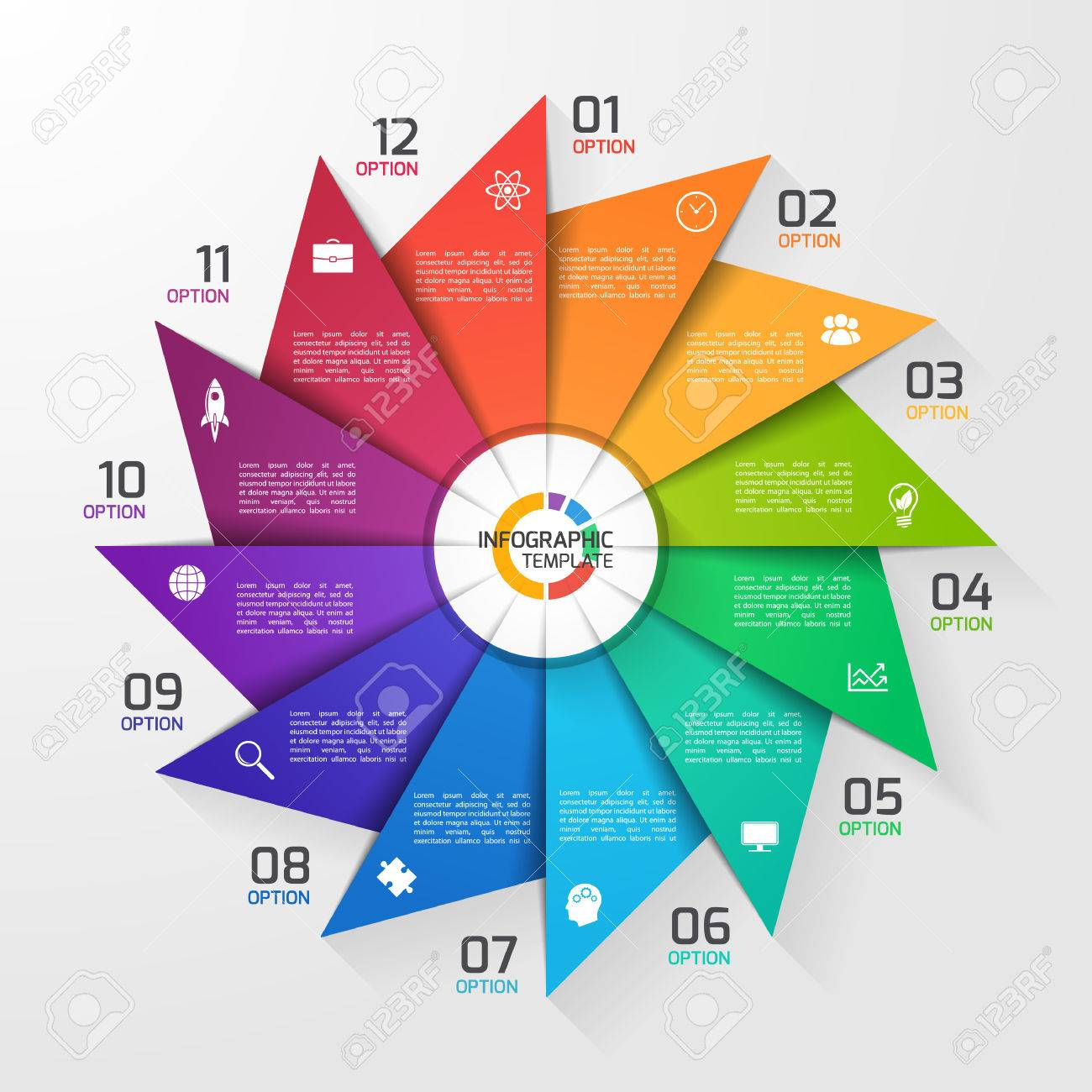 windmill style circle infographic template for graphs charts