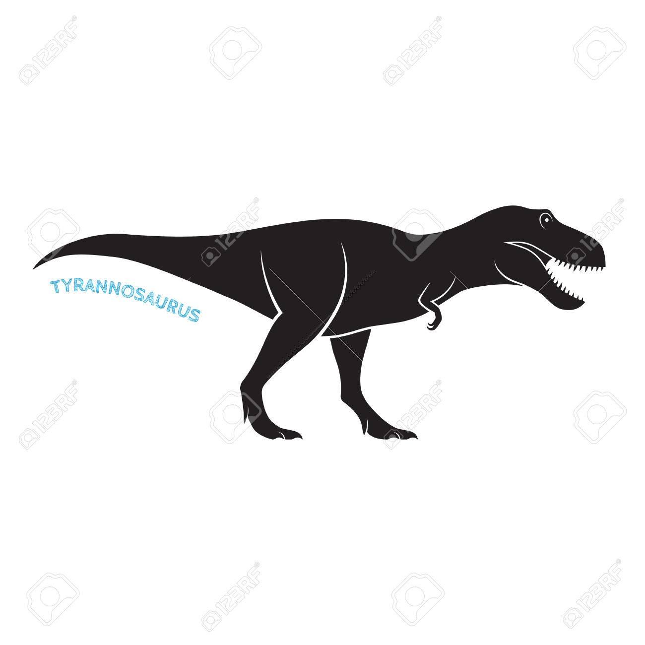 tyrannosaurus silhouette icon emblem on white background t rex rh 123rf com t rex vector art t rex vector free