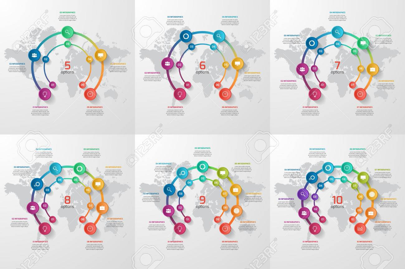 Set Of Vector Circle Infographic Templates For Graphs, Charts ...