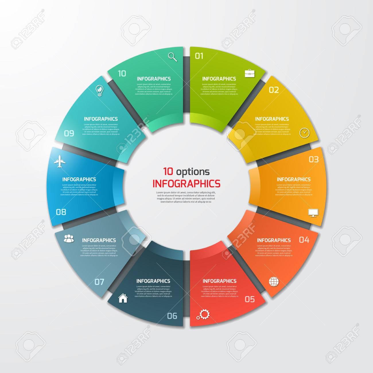 Gráfico Circular Plantilla De Infografía Círculo Con 10 Opciones ...