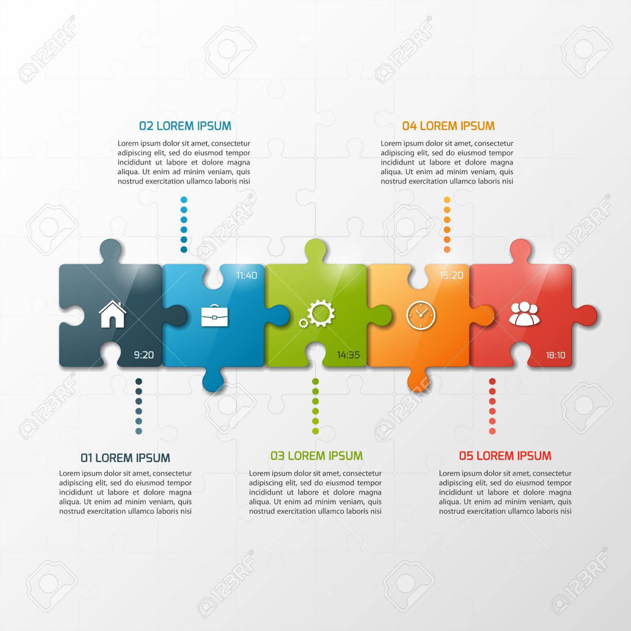 Vector 5 steps puzzle style timeline infographic template. Business concept. - 62145232