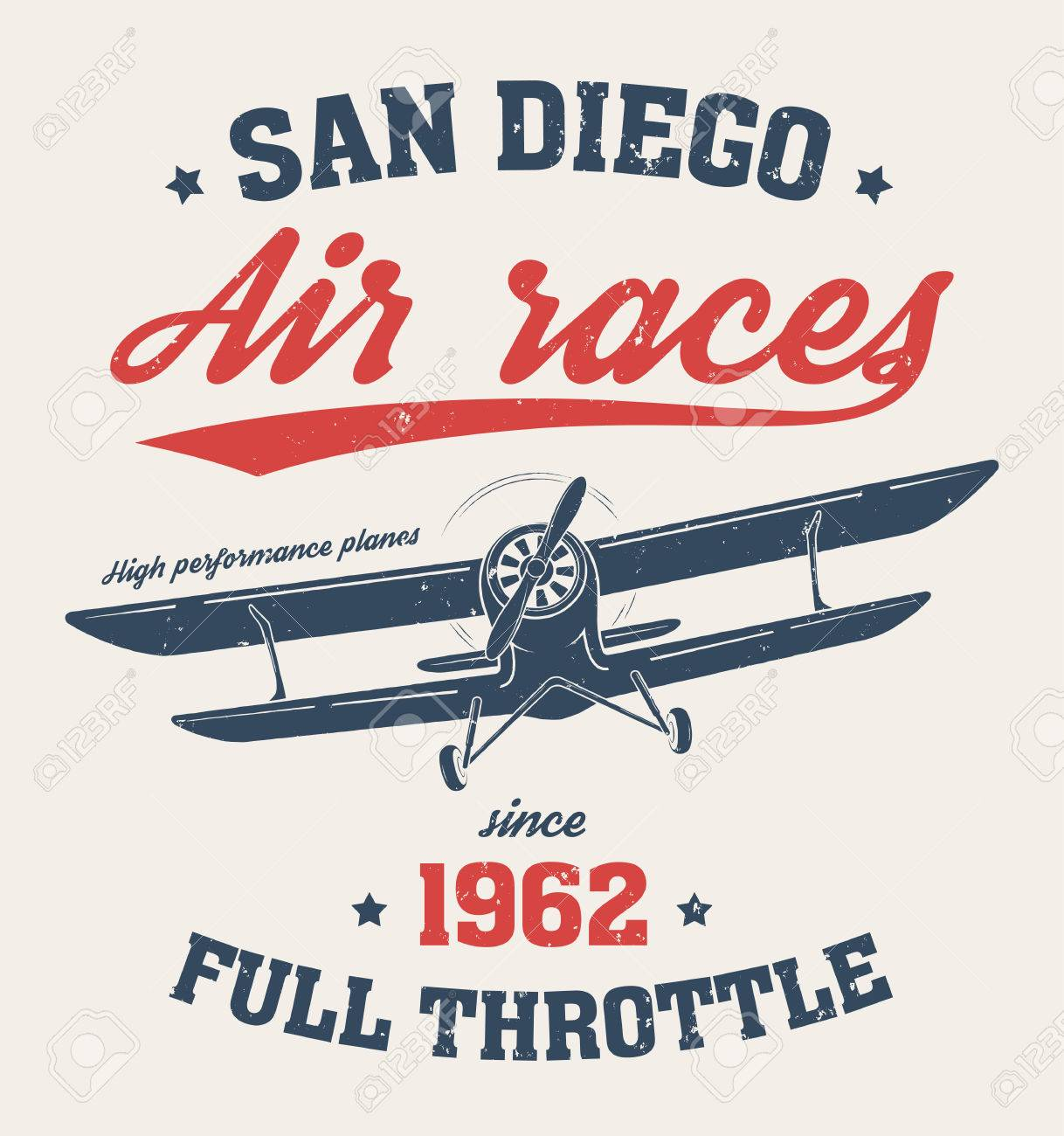 San Diego T Shirt Design Print Typography Label With Old Airplane