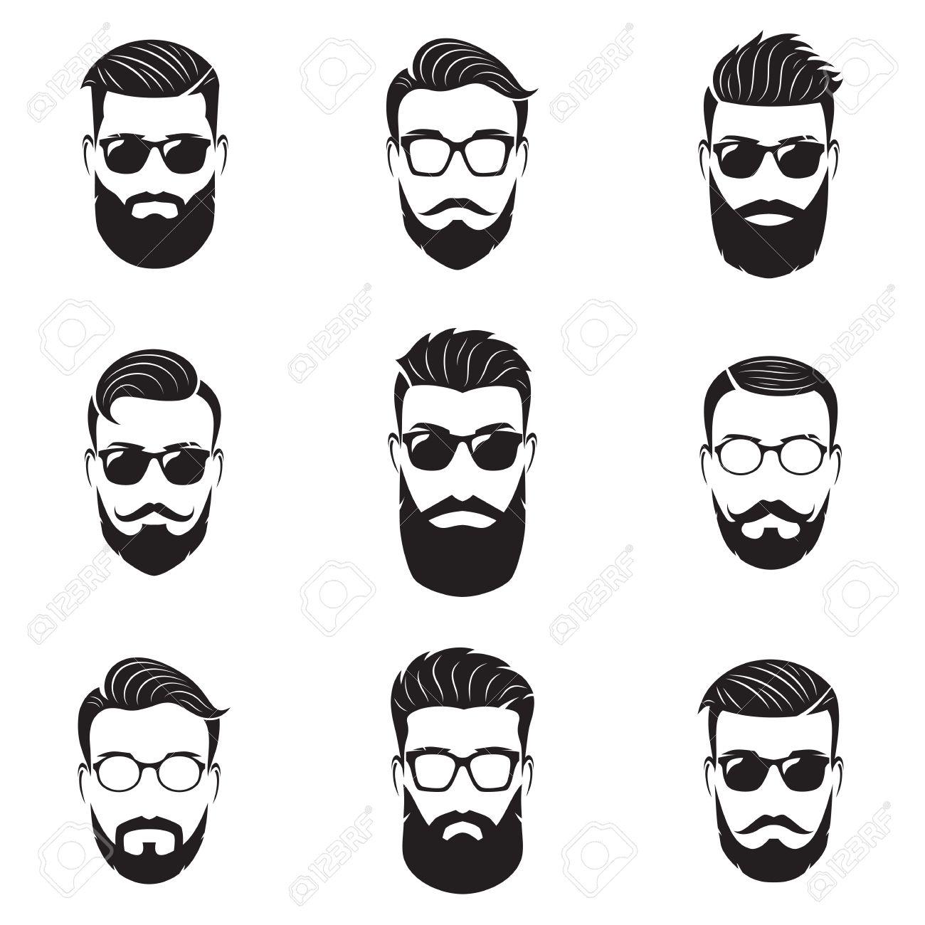 d04ef5de224 Set Of Vector Bearded Men Faces