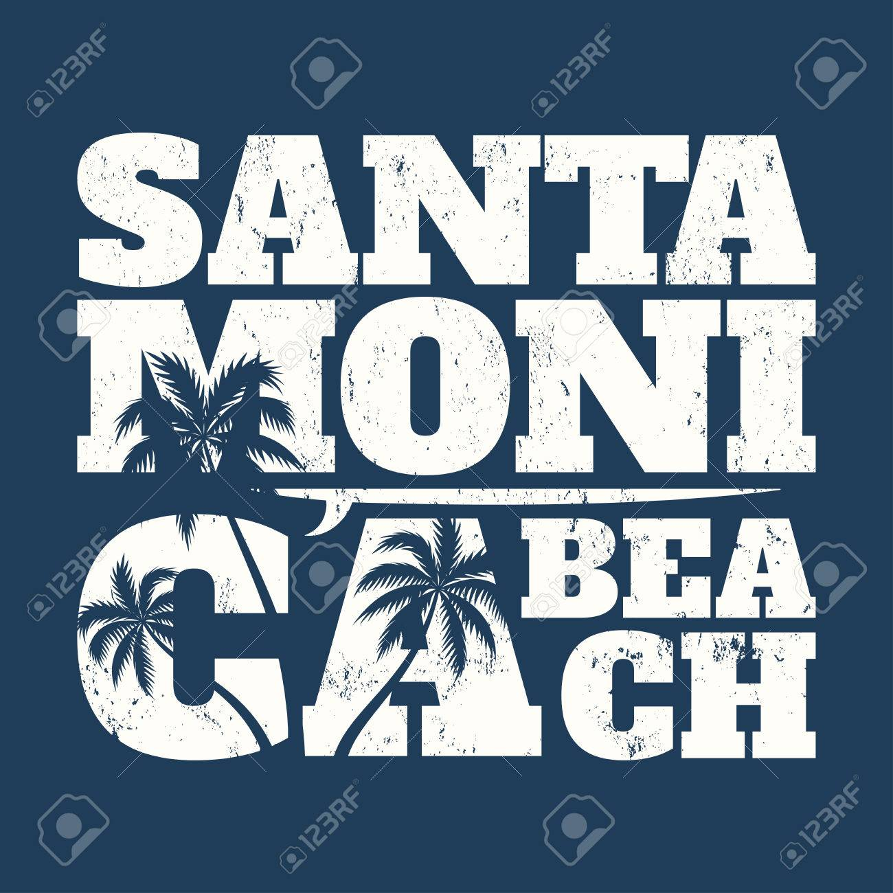 c68fbfbbf Santa Monica tee print with surfboard and palms. T-shirt design, graphics,