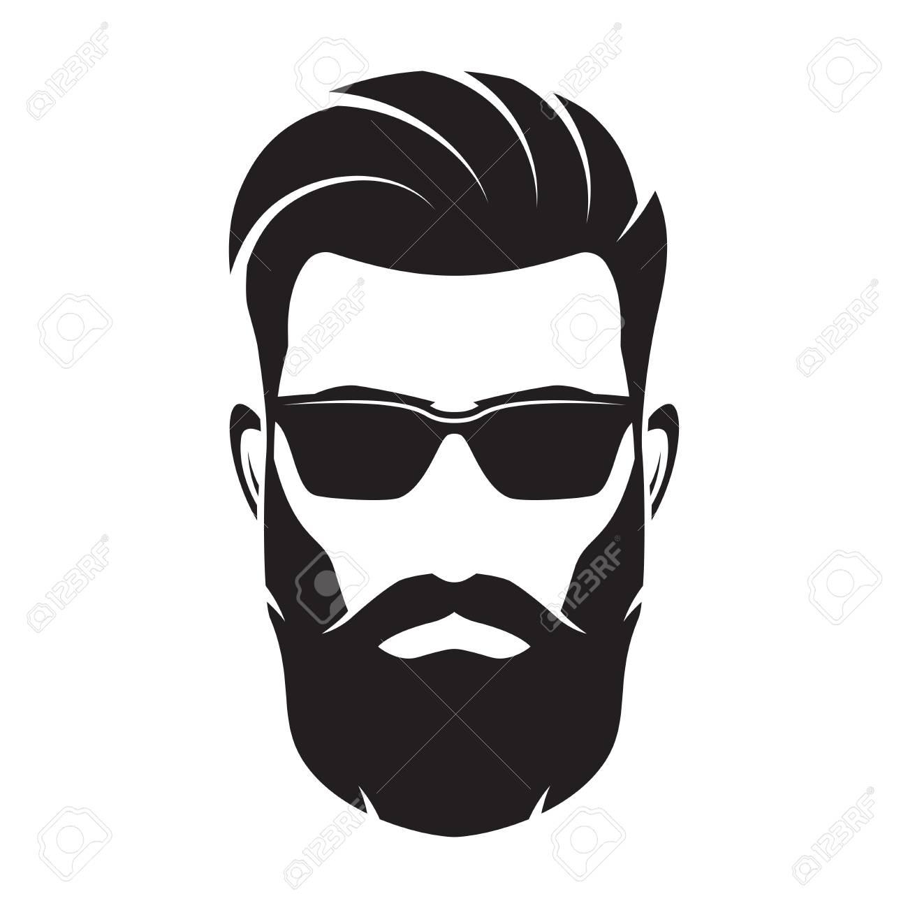 Bearded men face, hipster character. Vector illustration. - 77480699
