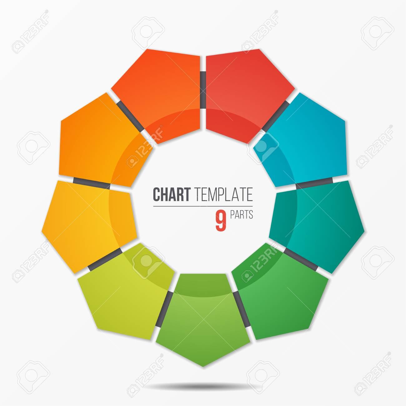 polygonal circle chart infographic template with 9 parts royalty