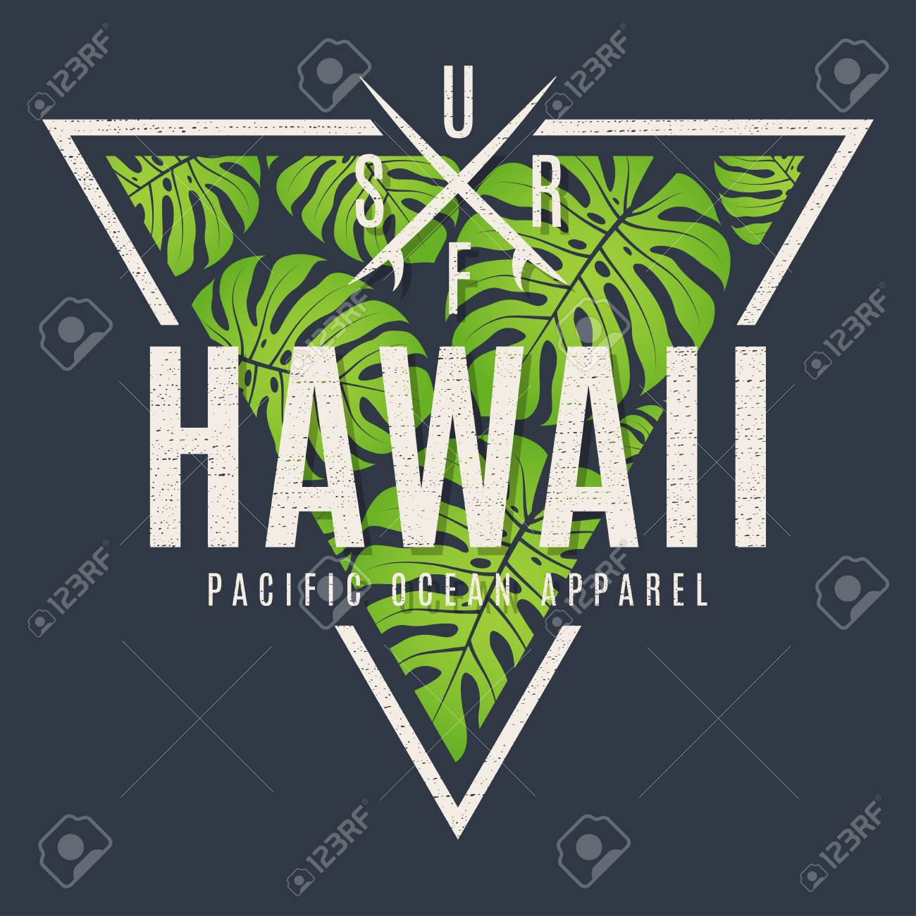 Hawaii tee print with with tropical leaves - 80443185