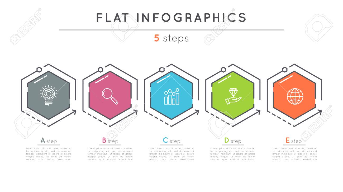 Flat style 5 steps timeline infographic template. - 80838106