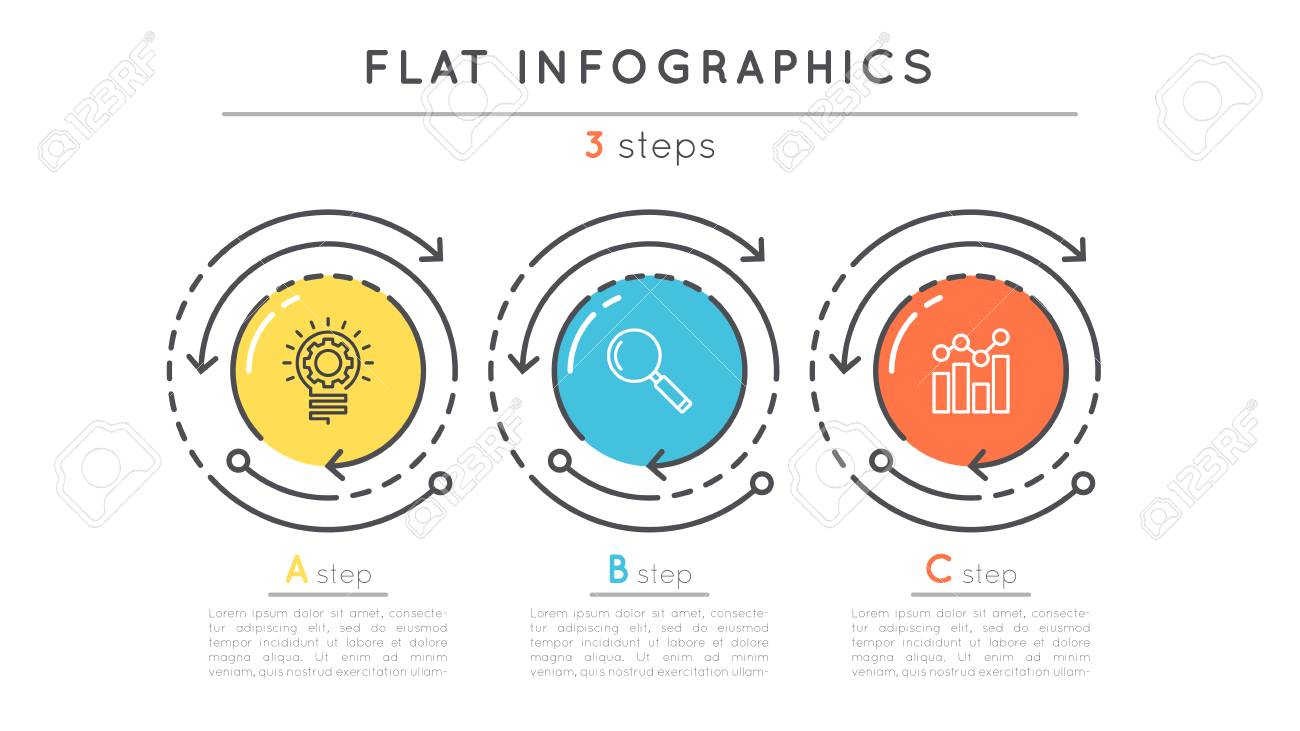 Flat style 3 steps timeline infographic template. - 80838118