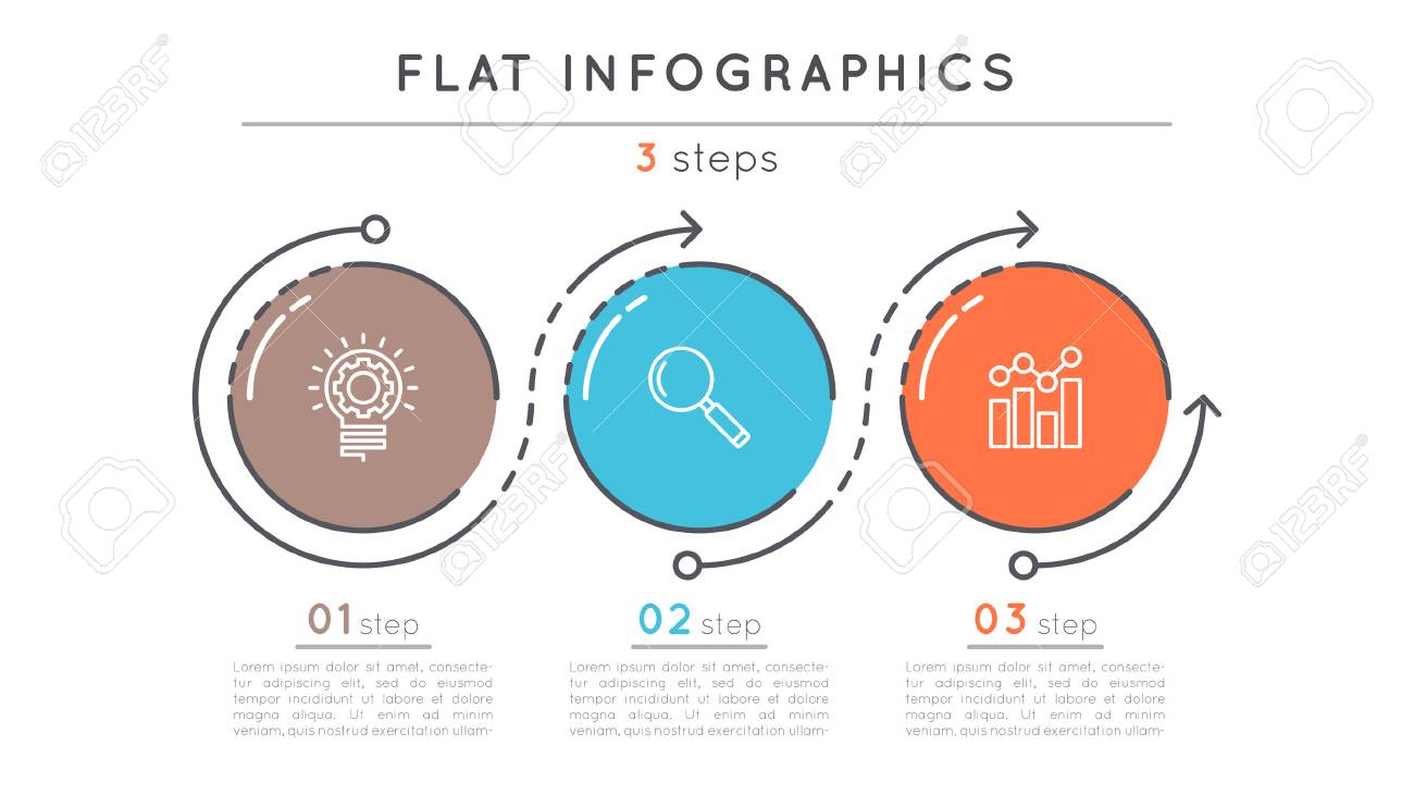 Flat style 3 steps timeline infographic template. - 81227998