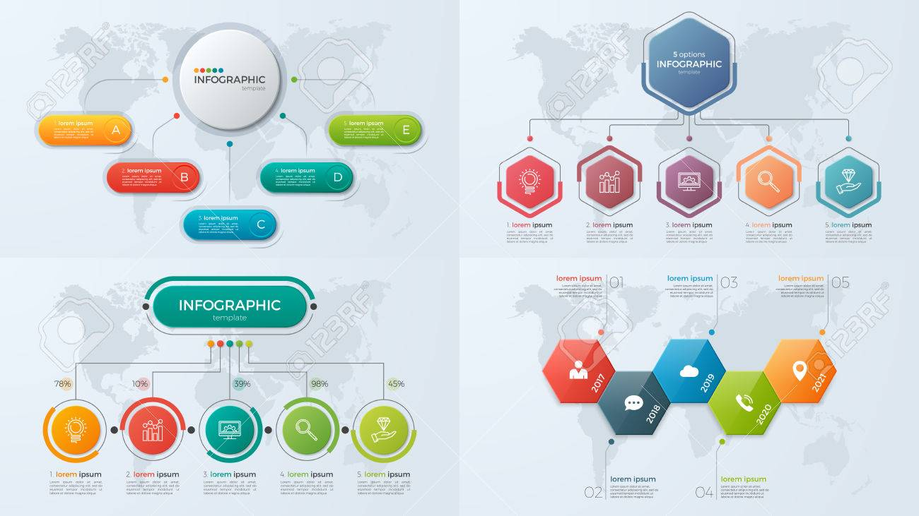 Set of presentation business infographic templates with 5 option - 82990892
