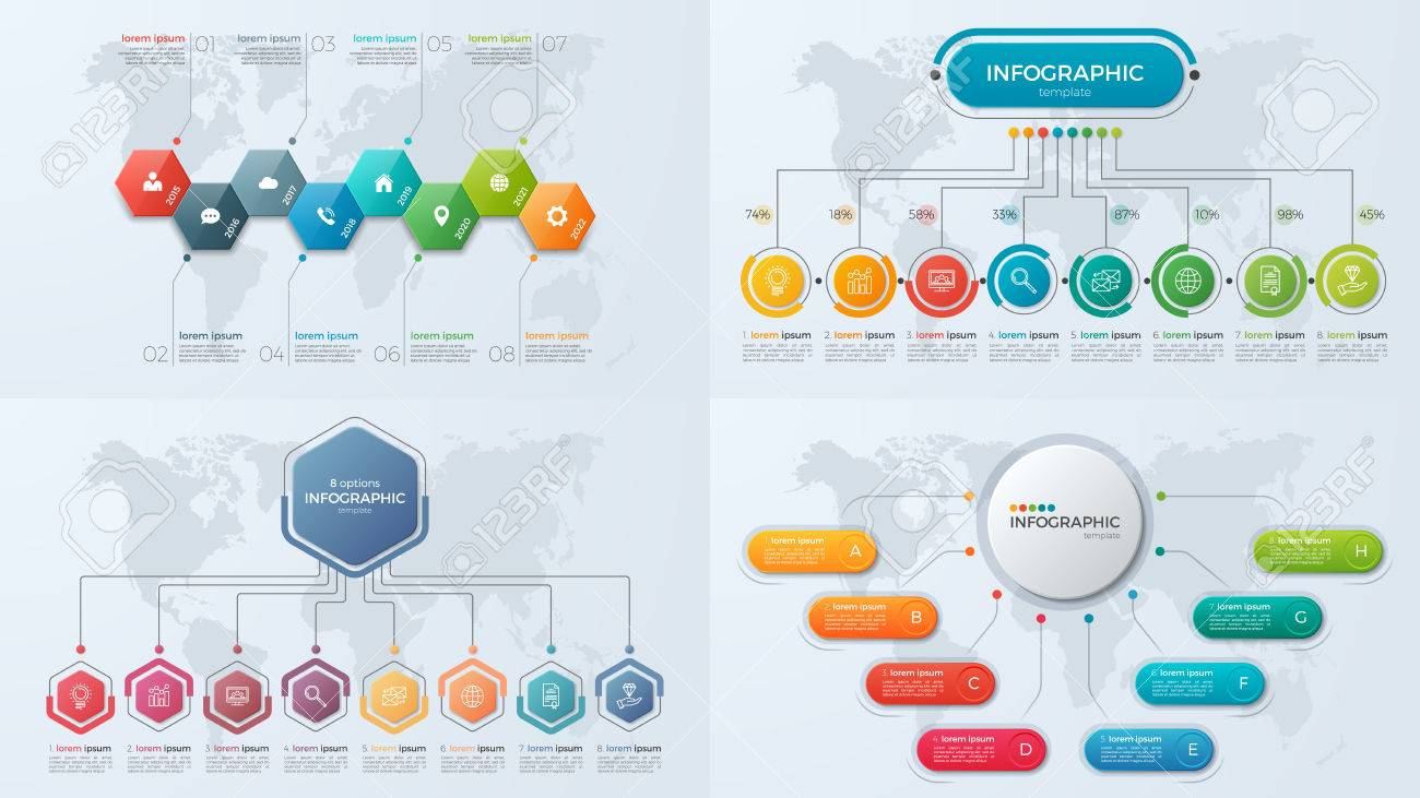 Set of presentation business infographic templates with 8 option - 82990895