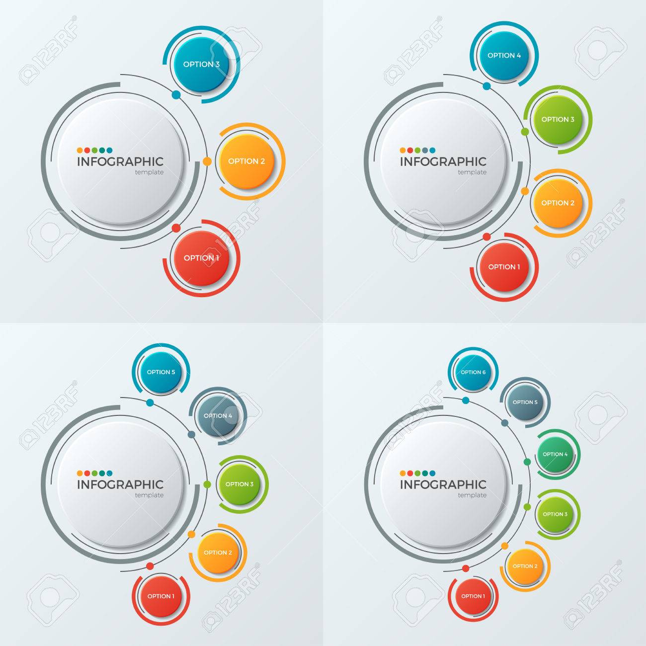 Circle chart infographic templates with 3-6 options for presenta - 83886815