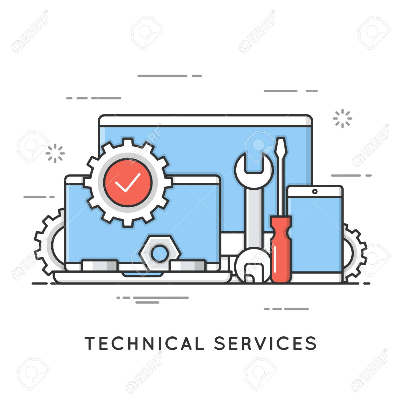 Technical services, computer repair, support. Flat line art styl - 84908714
