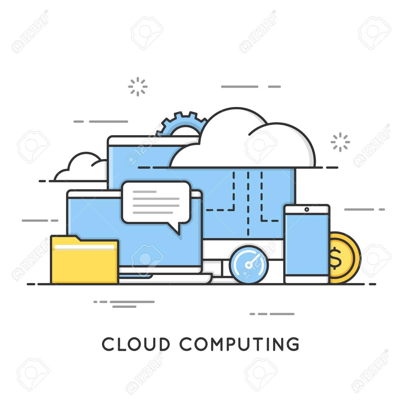 Cloud computing, data storage, web services. Flat line art style concept. Editable stroke. - 85064720