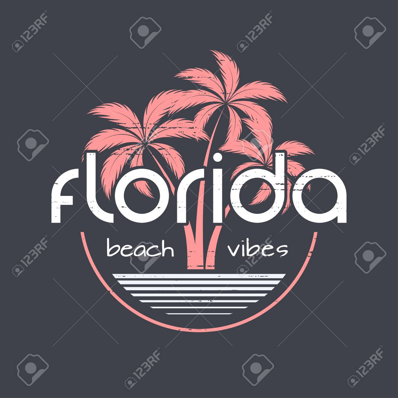 A Florida Beach Vibes T Shirt And Apparel Design Royalty Free