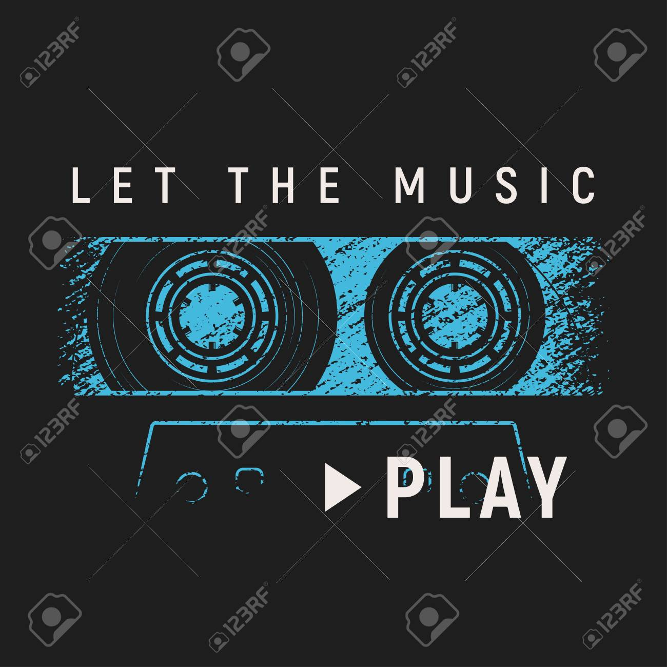 7aeca367 Let the music play t-shirt and apparel design with grunge effect Stock  Vector -