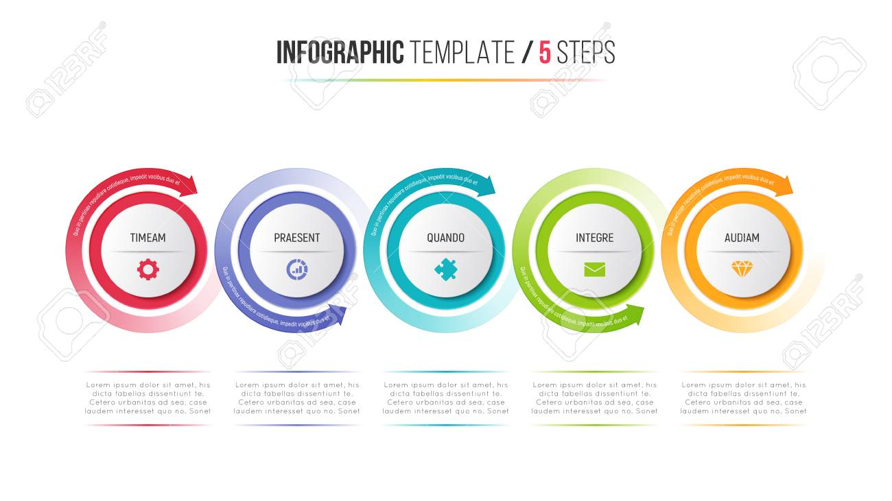 five steps infographic process chart with circular arrows. royalty