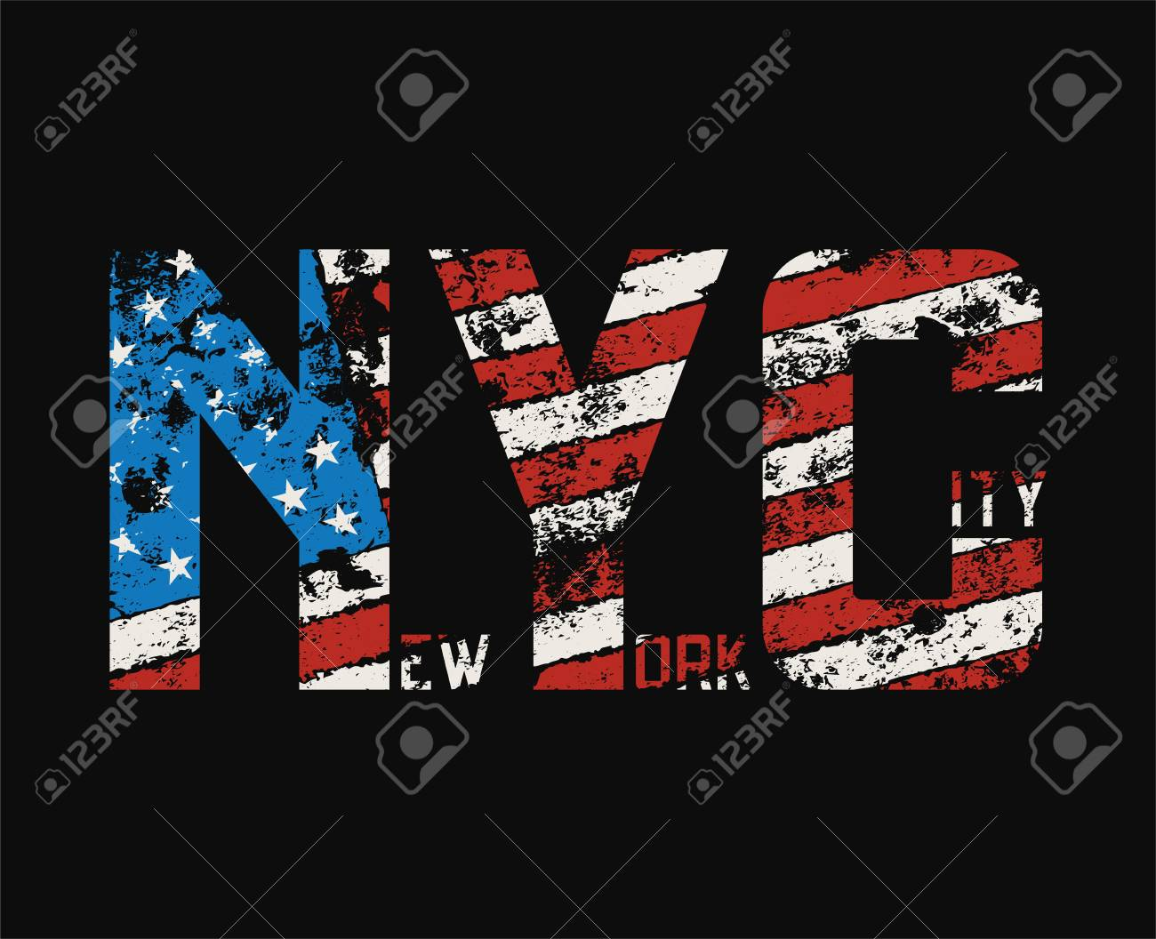 New York City t-shirt and apparel design with grunge effect. - 90027497