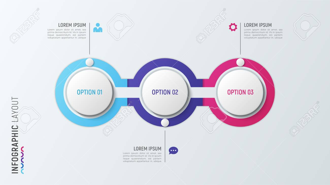 Three steps infographic process chart. 3 options vector template - 90023667