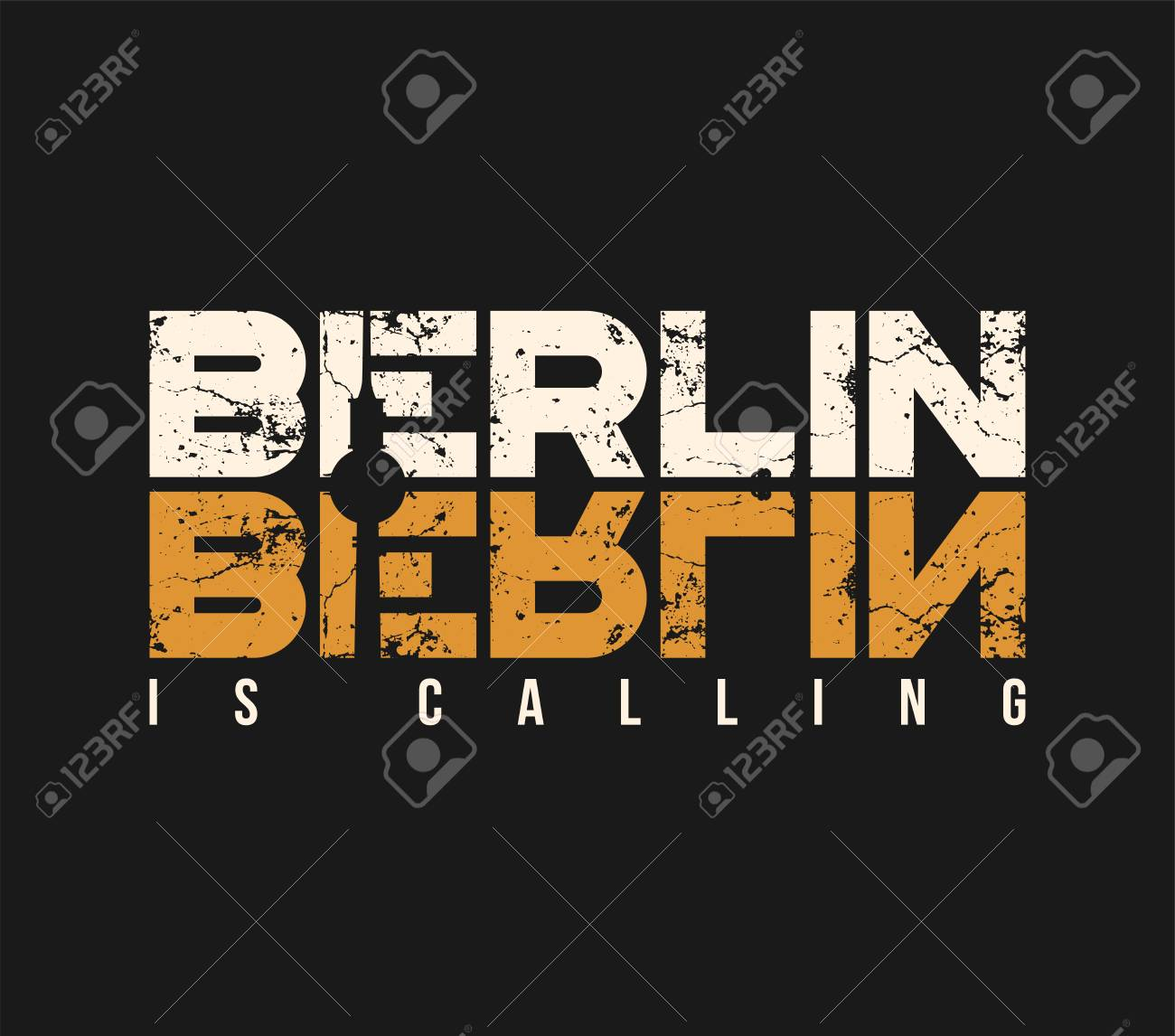 Berlin is calling t-shirt and apparel design with grunge effect. - 90472711