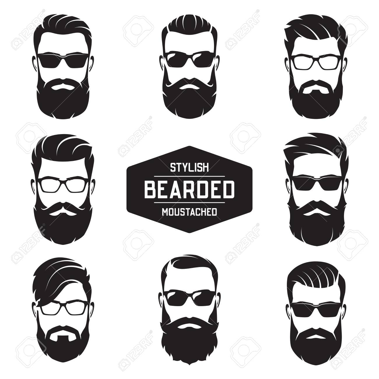 Set of vector various bearded men faces. - 90908328