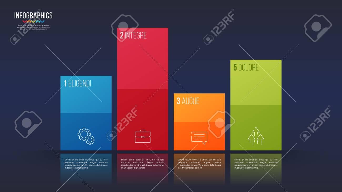 easy editable vector 4 options info-graphic design, bar chart