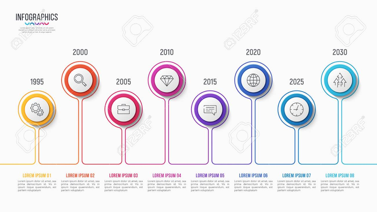 Vector 8 steps infographic design, timeline chart, presentation template on white background. Global swatches. - 94277869