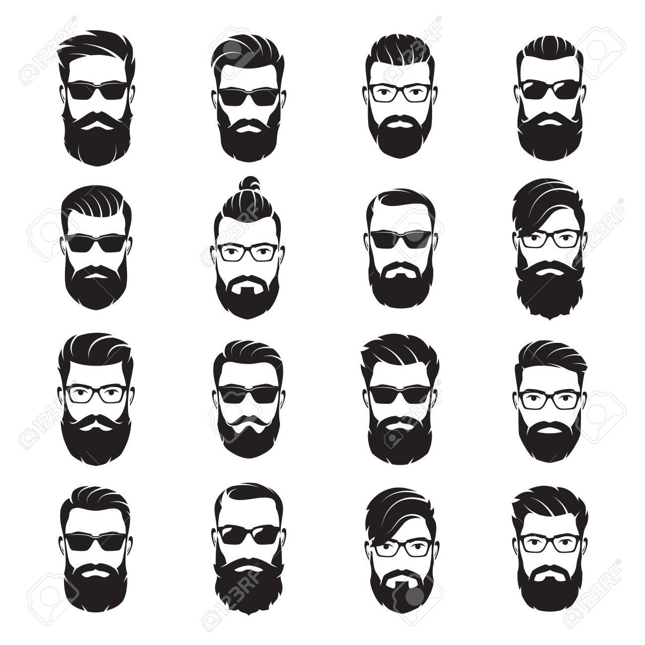 Set of vector bearded men faces hipsters with different haircuts - 96152063