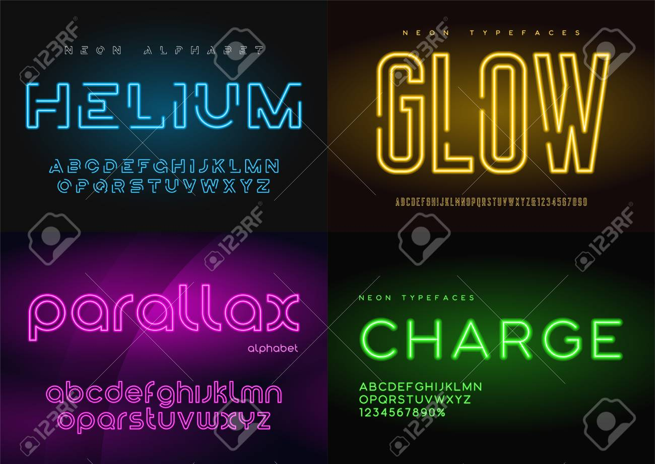 Set of glowing neon vector typefaces, alphabets, letters, fonts, - 97071982