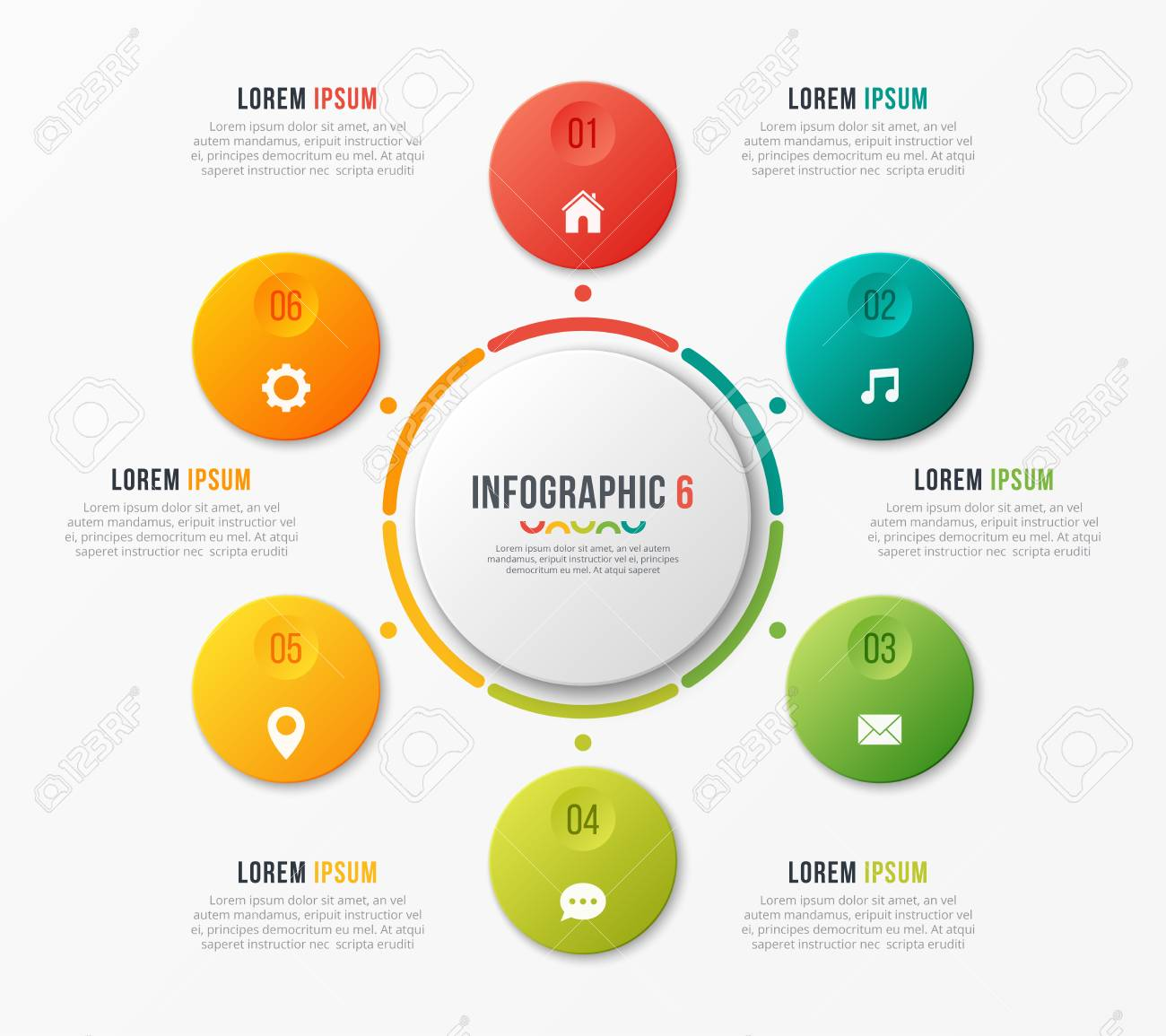 circle chart template with 6 options vector design for infograp