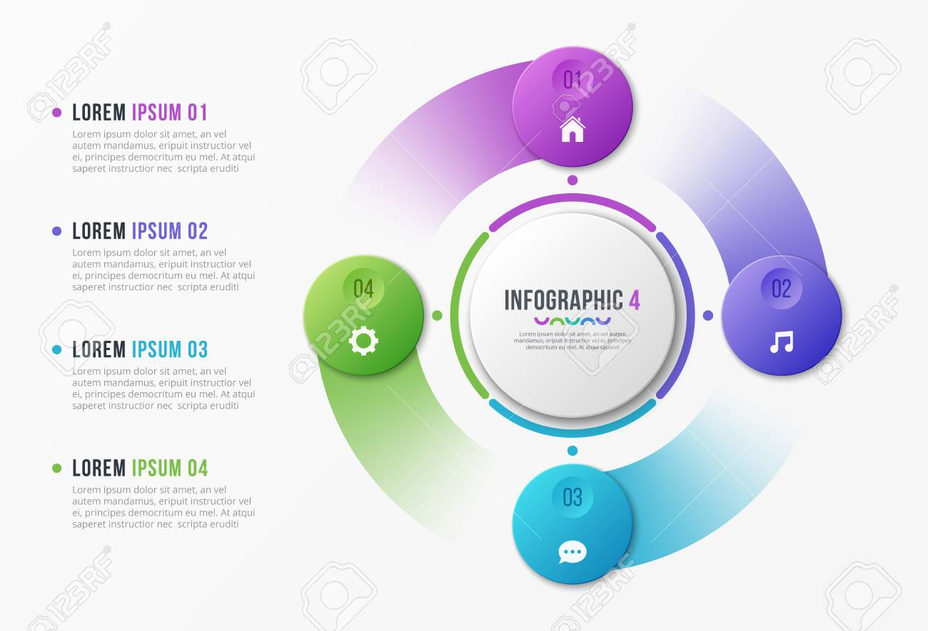 Rotating circle chart template with four options. - 98479712