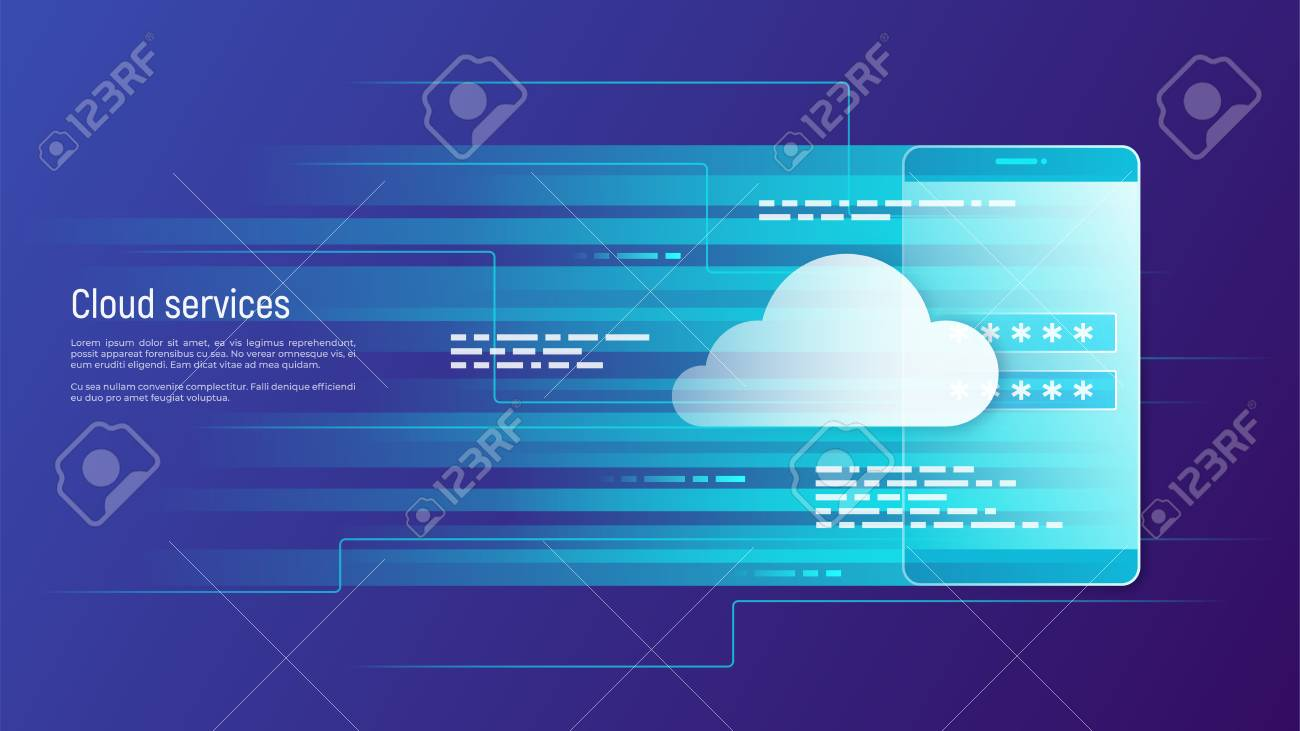 Cloud services, remote data storage vector concept. Global. - 99390594