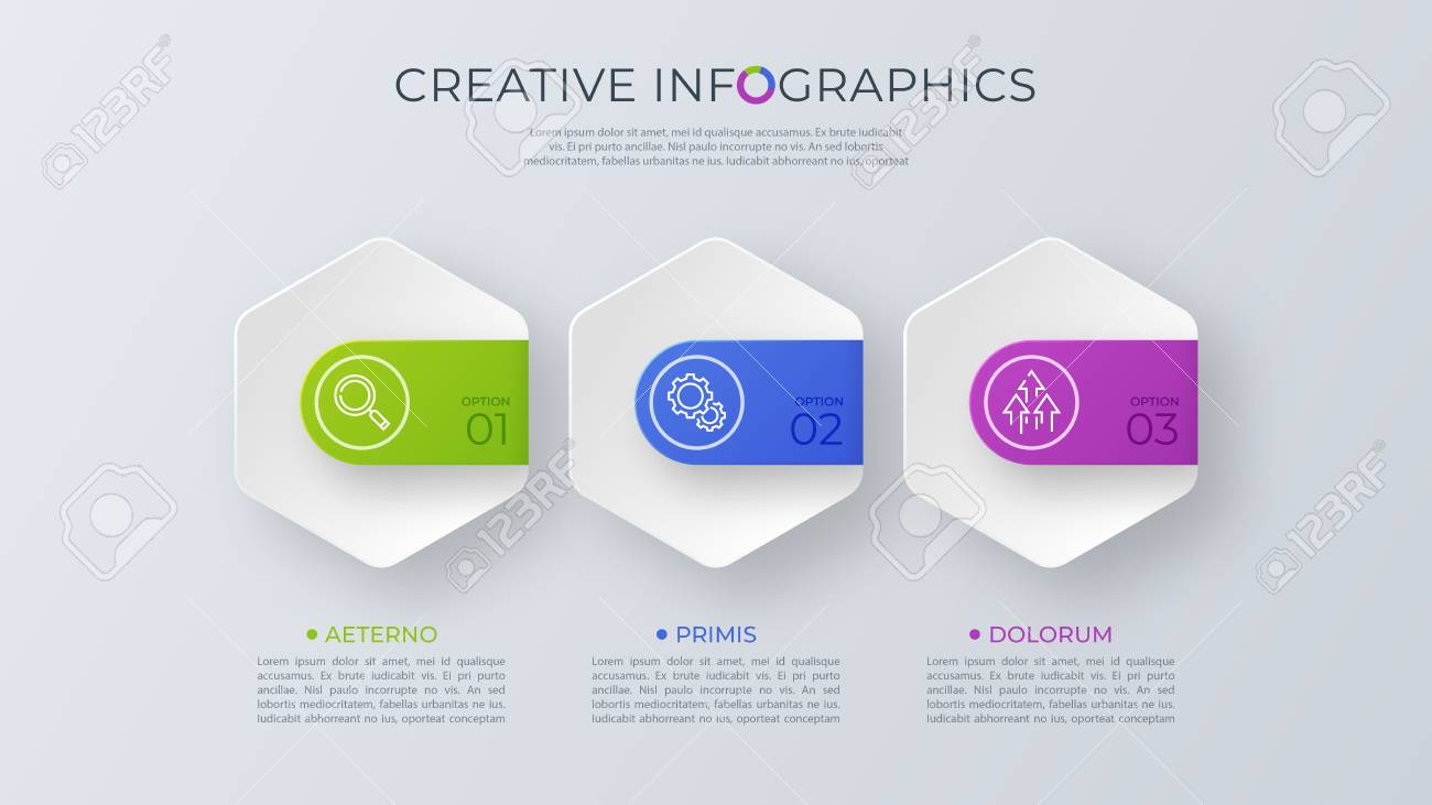 Contemporary minimalist vector infographic design with three opt - 101970410