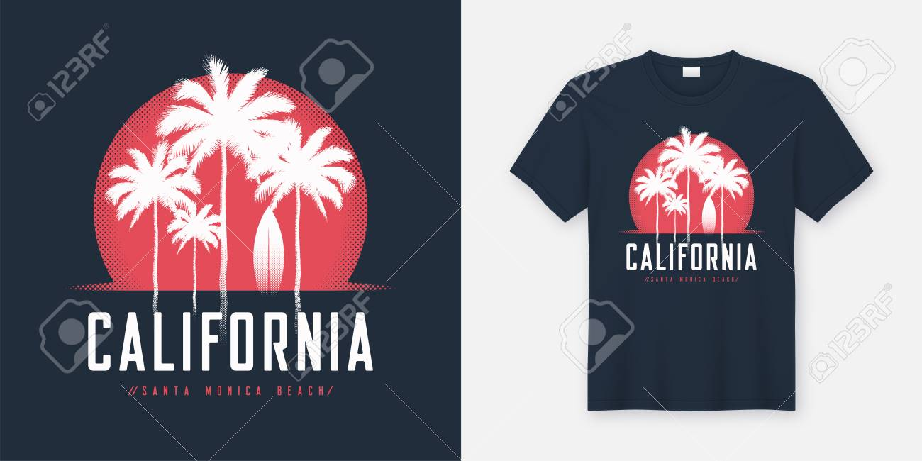 c2cf19554 California Santa Monica Beach t-shirt and apparel design, typogr Stock  Vector - 102574163