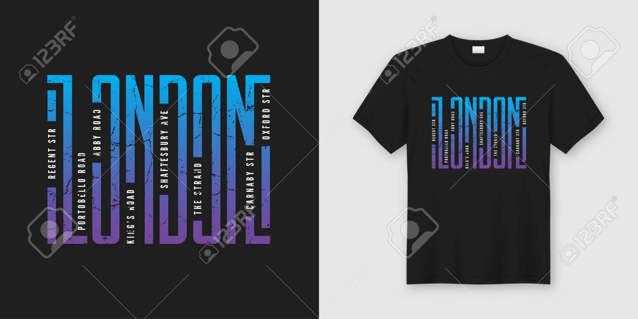 London streets stylish t-shirt and apparel design, typography - 104149748