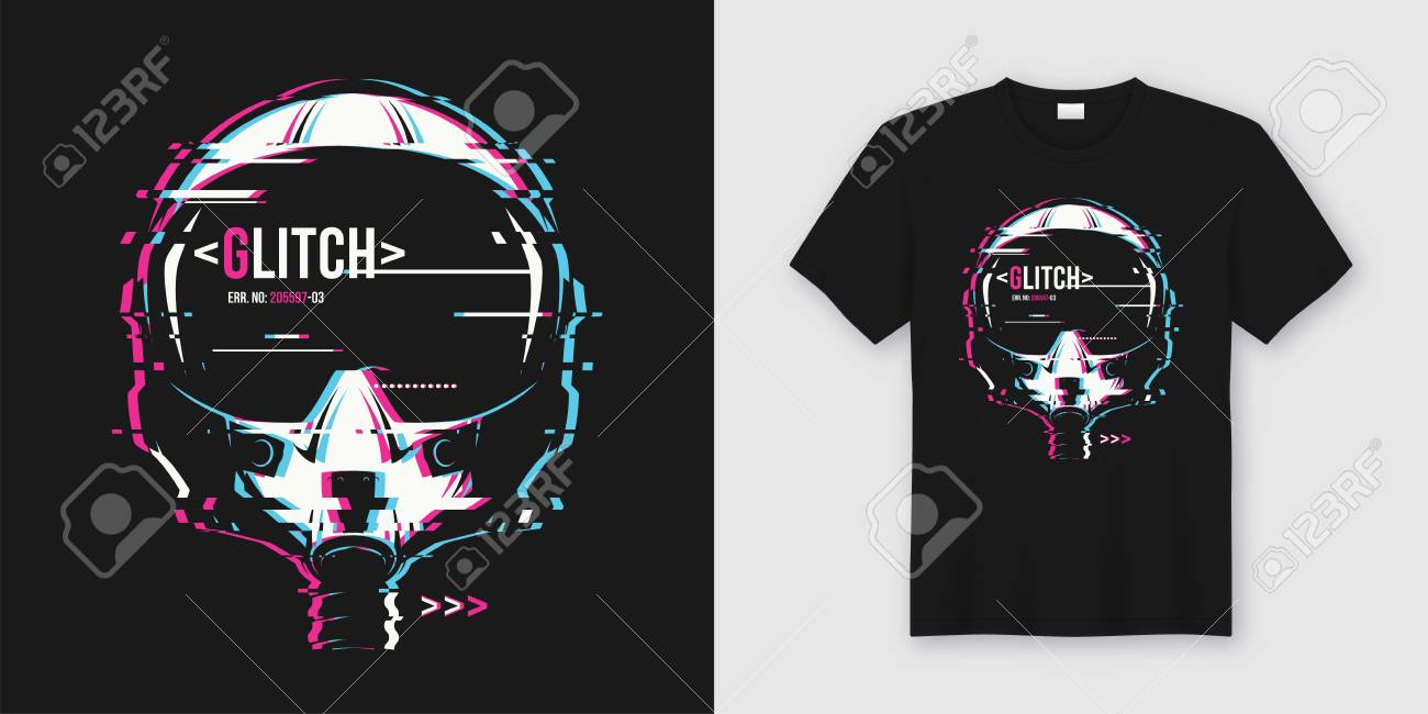 Stylish t-shirt and apparel trendy design with glitchy flight he - 104461670
