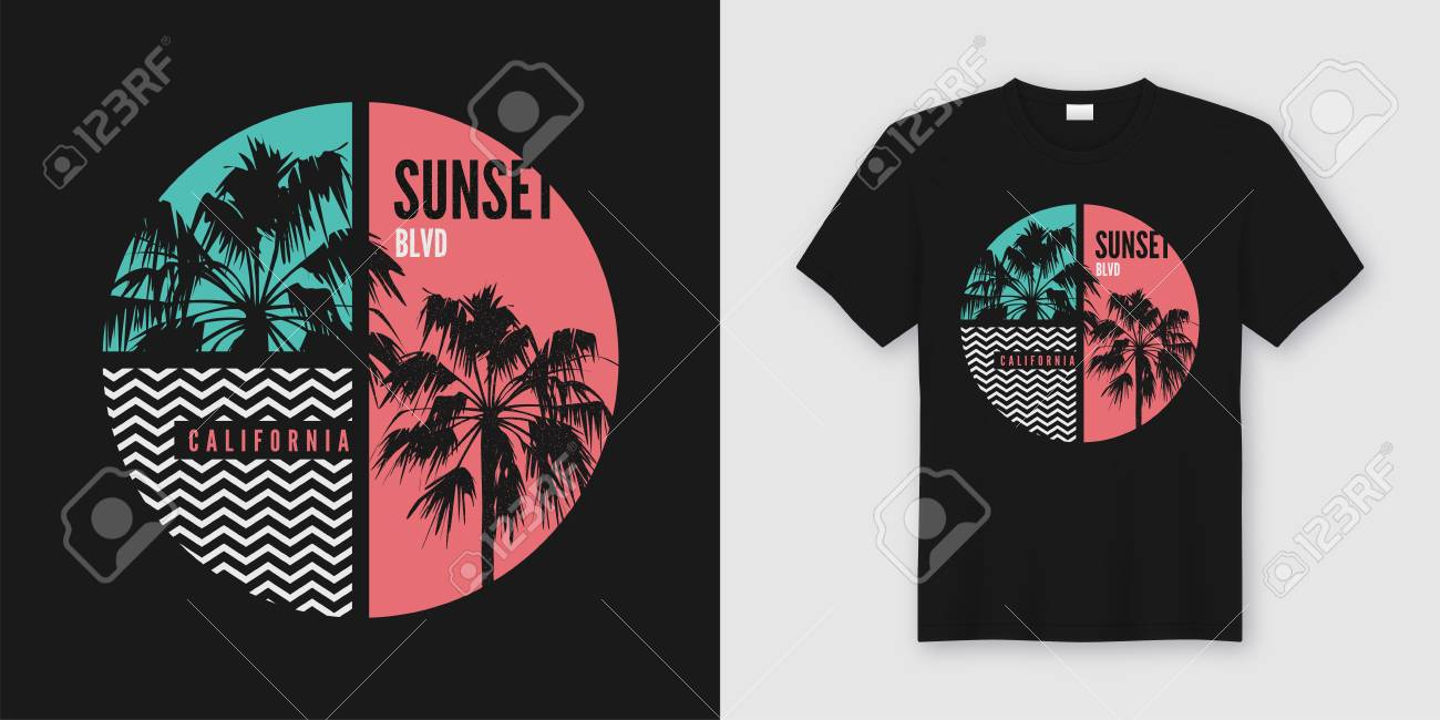 Sunset Blvd California t-shirt and apparel trendy design with palm trees silhouettes, typography, print, vector illustration. Global swatches. - 114957333