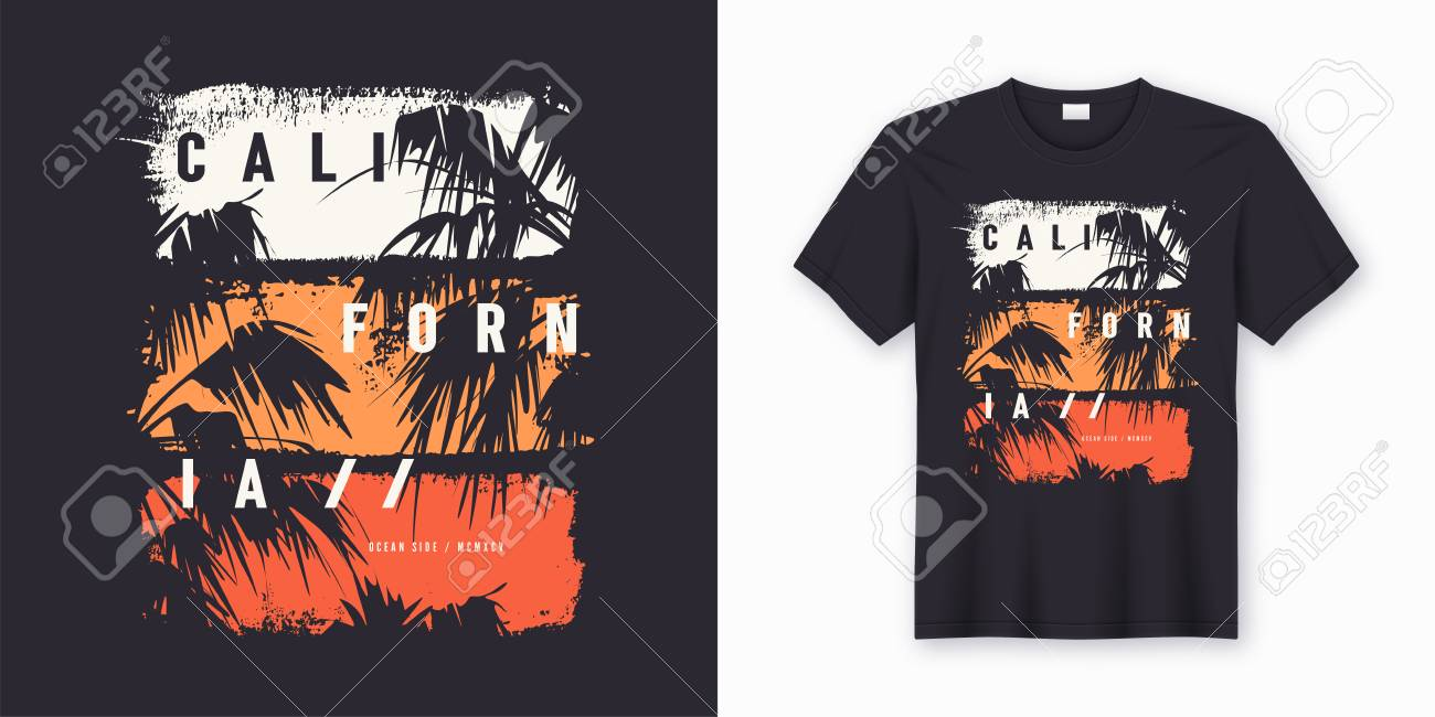 0cbe67bb California Ocean side stylish t-shirt and apparel trendy design with palm  trees silhouettes,