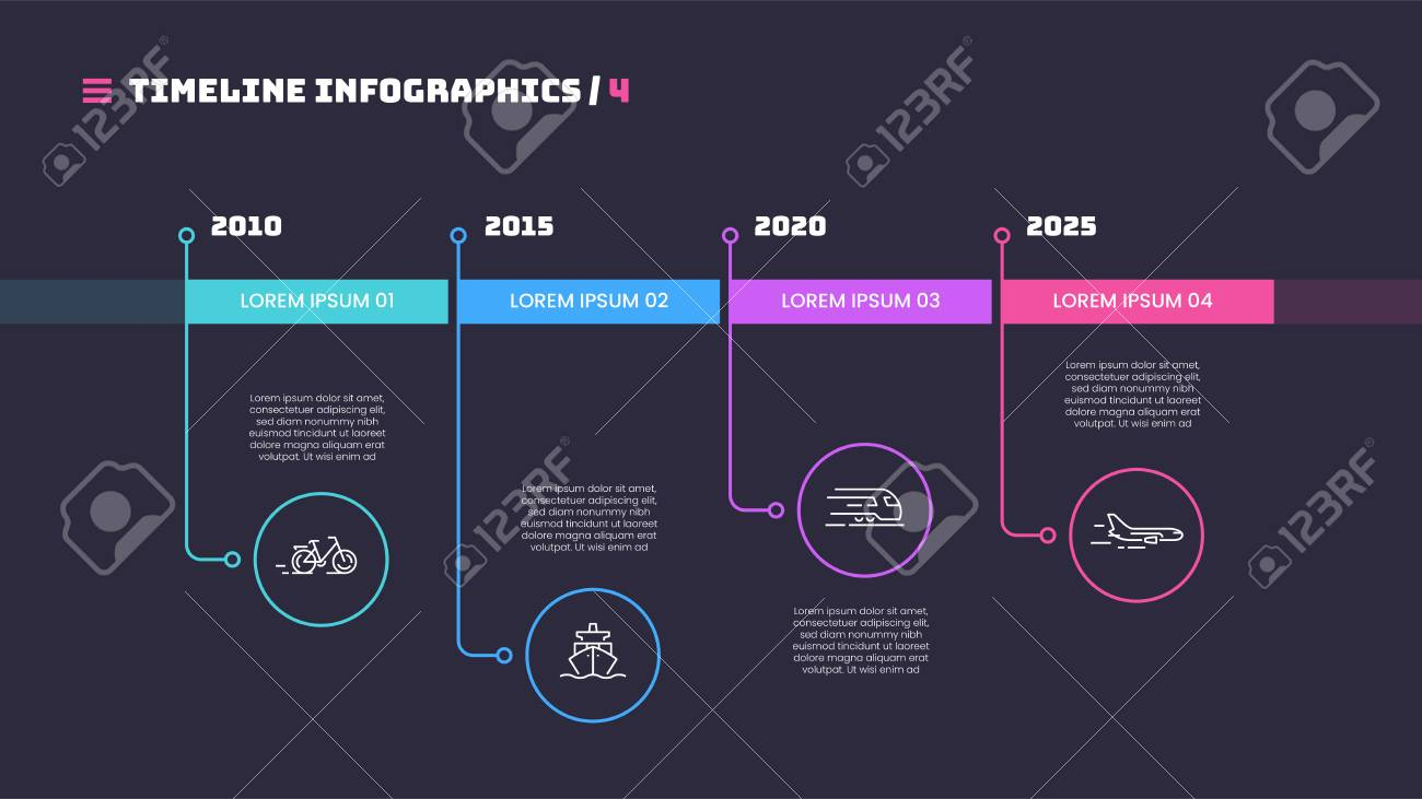 Thin line timeline minimal infographic concept with four periods of time. Vector template for web, presentations, reports, visualizations. Editable stroke. - 126327909