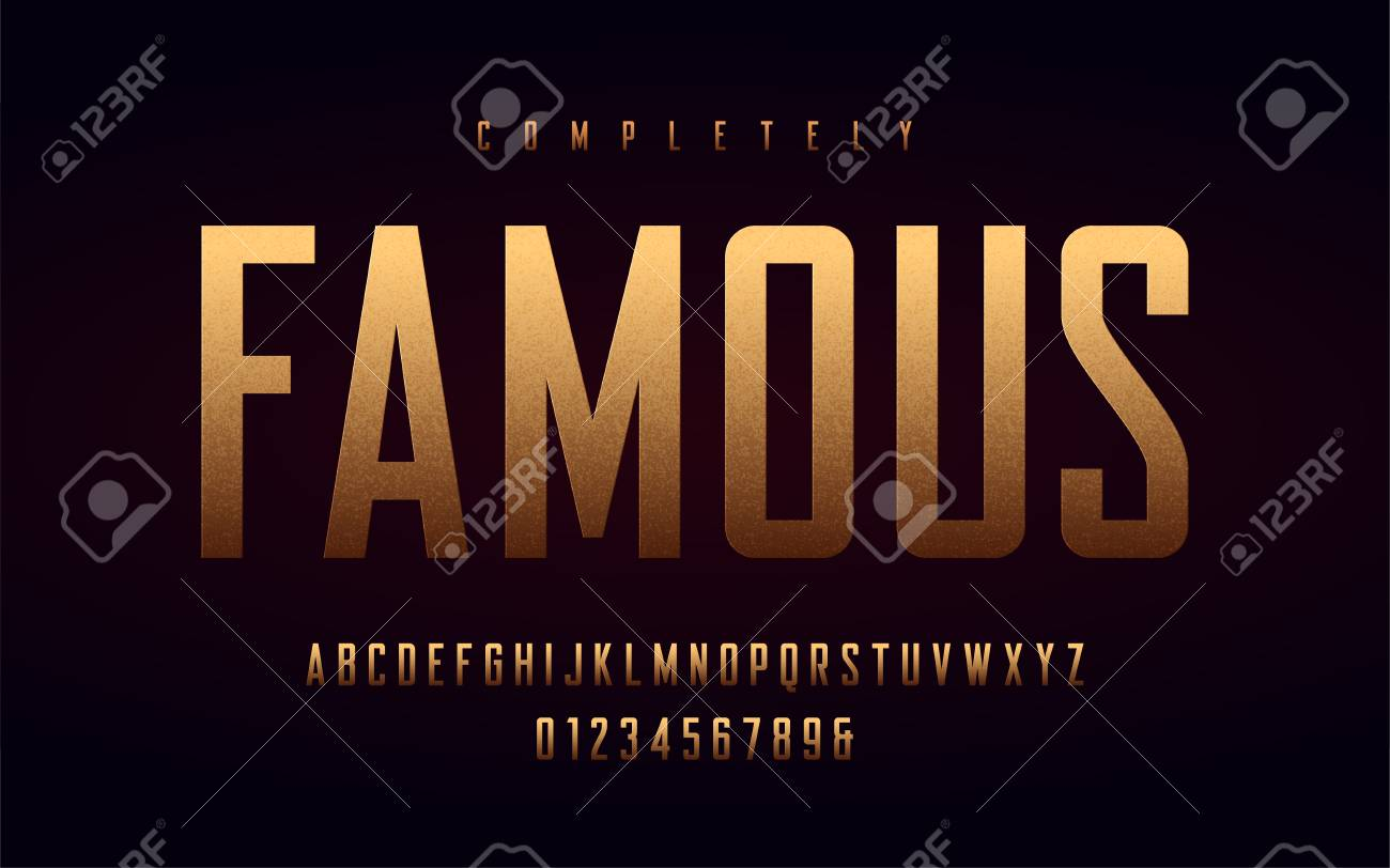 Condensed uppercase letters and numbers, alphabet with effect of the gold foil. Vector illustration. - 124654803